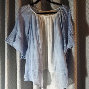 CHICO'S Blue Tie Dyed Top with Lace Panel